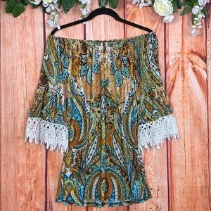 Bohemian Gypsy Lace Sleeve Off Shoulder Tunic 1542